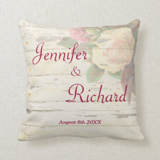 Vintage roses shabby chic wedding custom memento throw pillow