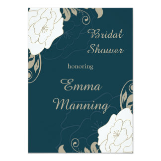 Vintage roses, swirls on teal Bridal Shower 11 Cm X 16 Cm Invitation Card