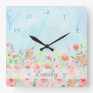 vintage roses watercolor pink blue customisable square wall clock
