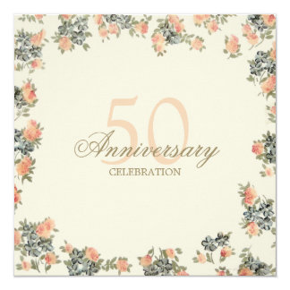 Vintage Roses - wedding anniversary invitation