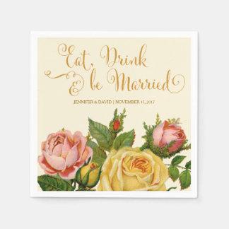 Vintage Roses, Wedding Reception Napkins Paper Napkin
