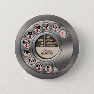 Vintage Rotary Phone 6 Cm Round Badge