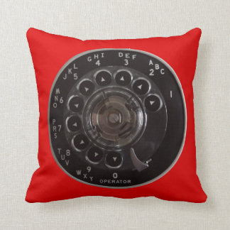 Vintage Rotary Phone Dial Pillow (Red)