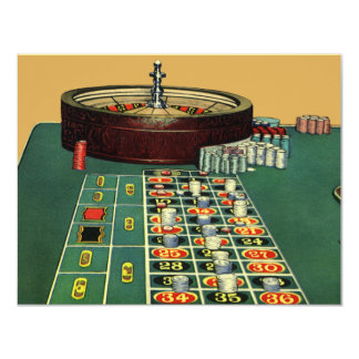 "Vintage Roulette Table Casino Gambling Chips Game 4.25"" X 5.5"" Invitation Card"