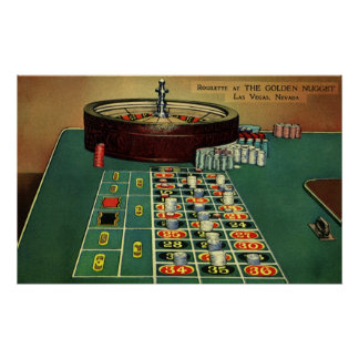 Vintage Roulette Table Casino Gambling Chips Game Poster