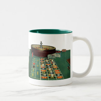 Vintage Roulette Table Casino Gambling Chips Game Two-Tone Coffee Mug