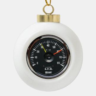 Vintage Round Analog Auto Tachometer Ceramic Ball Christmas Ornament