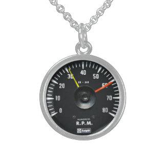 Vintage Round Analog Auto Tachometer Necklace