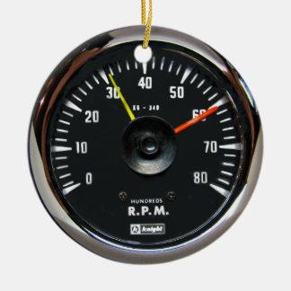 Vintage Round Analog Auto Tachometer Ornament