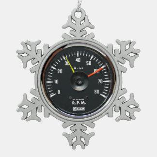 Vintage Round Analog Auto Tachometer Pewter Snowflake Decoration