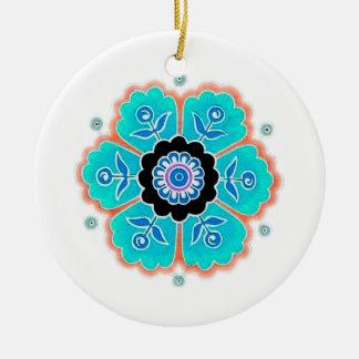 Vintage Round Flower Pattern Round Ceramic Decoration