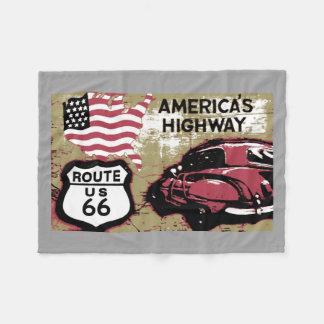 Vintage Route 66 Fleece Blanket