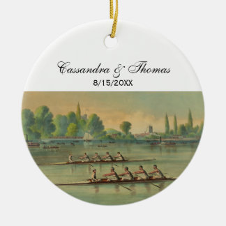 Vintage Rowers Crew Race Boat Race Ceramic Ornament