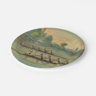 Vintage Rowers Crew Race Boat Race Paper Plate