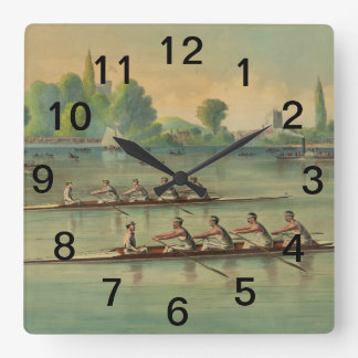 Vintage Rowers Crew Race Boat Race Square Wall Clock