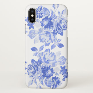 Vintage Royal Blue and White Floral Watercolor iPhone X Case