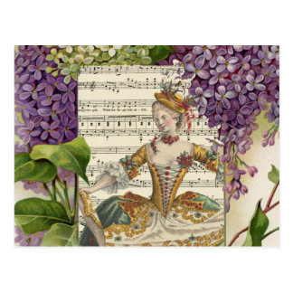 Vintage Royal French Fashion and Lilacs Postcard