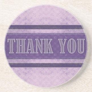 Vintage Royal Stripes light Purple Thank You Beverage Coaster