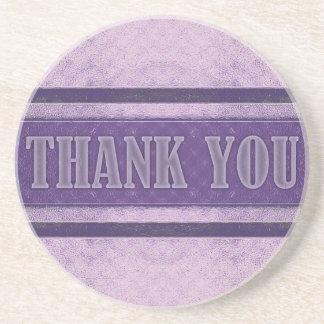 Vintage Royal Stripes light Purple Thank You Coaster