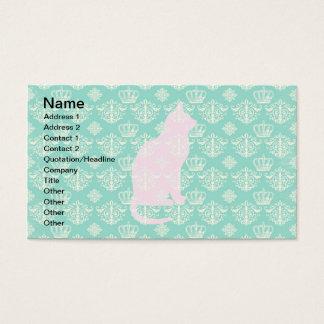 Vintage Royal Teal White Damask Cat Design Pattern Business Card