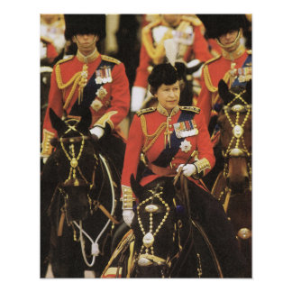 Vintage Royalty Queen Trooping of the Colour Poster