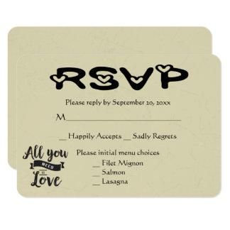 Vintage RSVP Tan & Black Wedding Love Hearts Card
