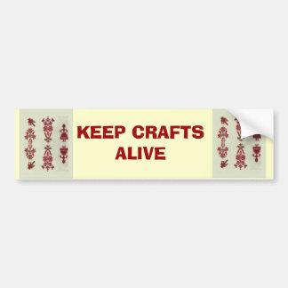 Vintage Rumanian cross stitch embroidery Bumper Sticker
