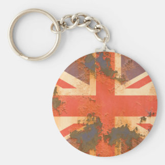 Vintage Rusted United Kingdom Flag Basic Round Button Key Ring