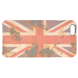 Vintage Rusted United Kingdom Flag Clear iPhone 6 Plus Case