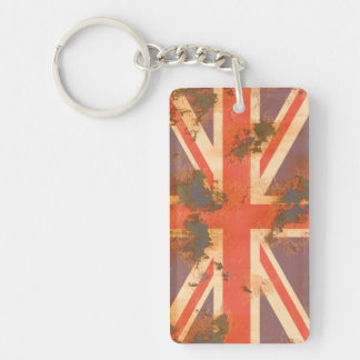 Vintage Rusted United Kingdom Flag Double-Sided Rectangular Acrylic Key Ring