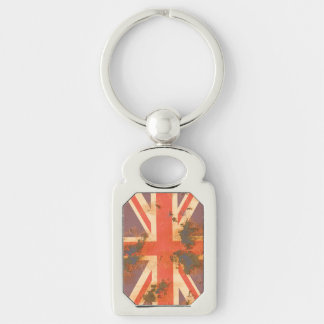 Vintage Rusted United Kingdom Flag Silver-Colored Rectangle Key Ring
