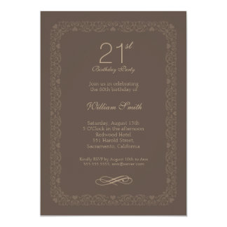 Vintage rustic 21st birthday party Invitations
