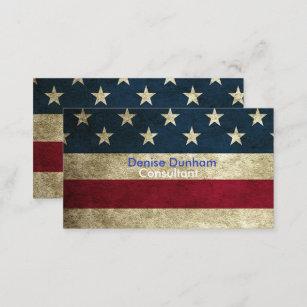 Vintage american flag business cards zazzle au vintage rustic american flag business cards reheart Images