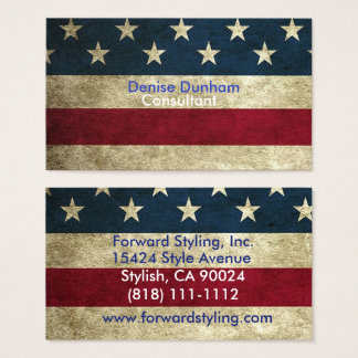 Vintage Rustic American Flag Business Cards