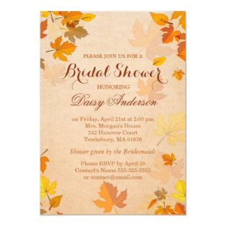 Vintage Rustic Autumn Leaves Wedding Bridal Shower 13 Cm X 18 Cm Invitation Card