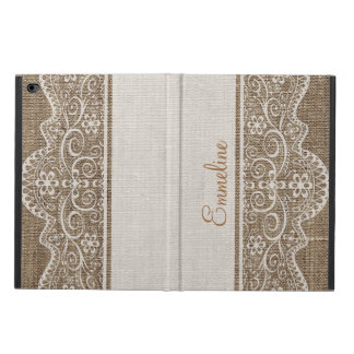 Vintage Rustic Burlap with Beautiful Floral Lace Powis iPad Air 2 Case