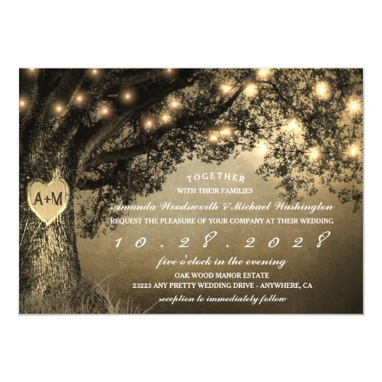 Tree Wedding Invitations: Vintage Rustic Carved Oak Tree Wedding Invitations