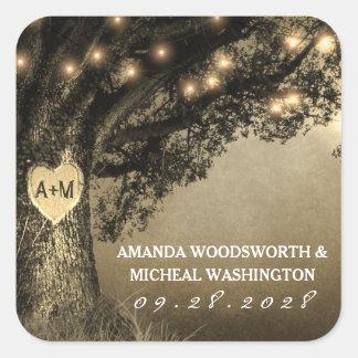 Vintage Rustic Carved Oak Wedding Favor Stickers