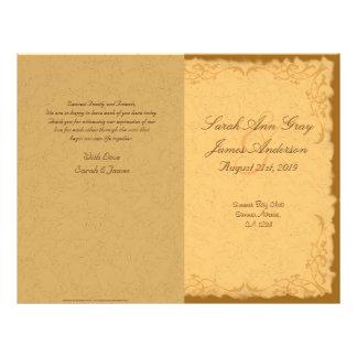 Vintage rustic country floral wedding program 21.5 cm x 28 cm flyer