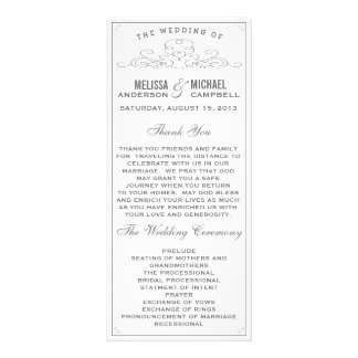 Vintage, Rustic, Country, White Wedding Program Rack Card Design