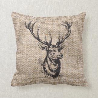 Vintage Rustic Deer Antlers on Faux Burlap Cushion