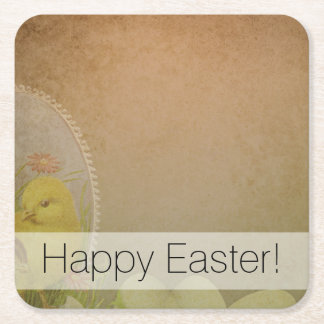 Vintage Rustic Easter Chicken Square Paper Coaster
