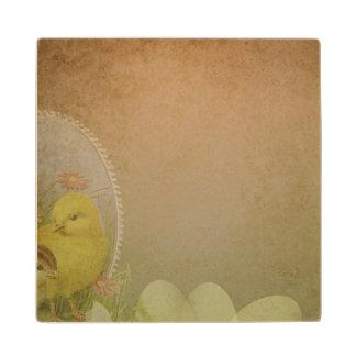 Vintage Rustic Easter Chicken Wood Coaster