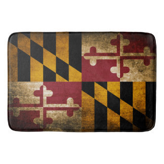 Vintage Rustic Flag of Maryland Bath Mats
