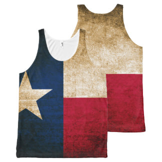 Vintage Rustic Flag of Texas All-Over Print Singlet