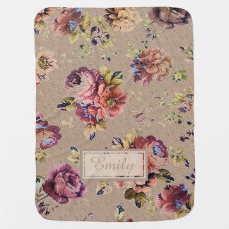 Vintage Rustic Floral Baby Blanket
