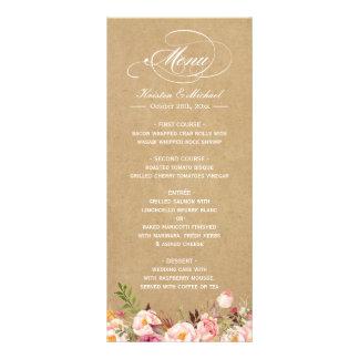 Vintage Rustic Floral Kraft Wedding Menu Template Customized Rack Card