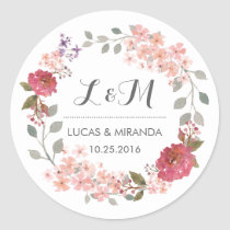 Vintage Rustic Floral Wreath Wedding Favour Round Sticker