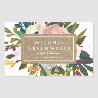 Vintage Rustic Florals Rectangular Sticker