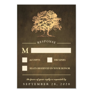 Vintage Rustic Gold Oak Tree Wedding RSVP Cards
